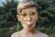 Portrait of freckled boy with funny glasses - VPIF01395