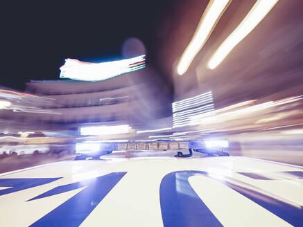 Police patrol lights on car roof, Madrid, Spain - OCMF00512