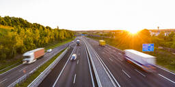 View to a motorway at sunset, Leonberg, Germany - WDF05339