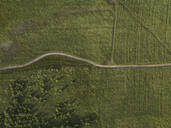 Aerial view of a road between meadows, Tikhvin, Russia - KNTF02931