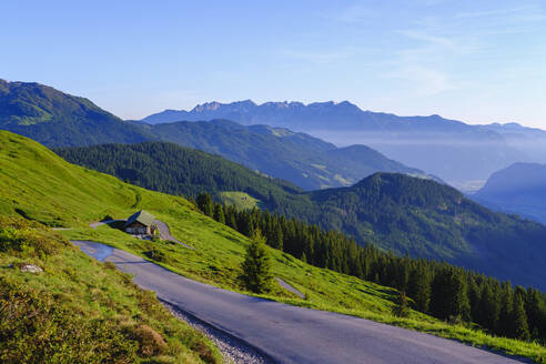 View over Zillertaler mountain road near Kaltenbach, Ziller valley, Tyrol, Austria - SIEF08786