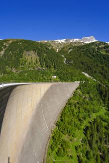Staumauer vom Schlegeis-Stausee, Dominikus-Hütte, Zillertaler Alpen, bei Finkenberg, Zillertal, Tirol, Österreich - SIEF08795