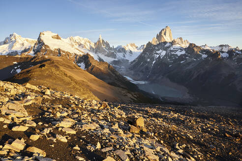 Fitz Roy and Cerro Torre mountains, Los Glaciares National Park, Patagonia, Argentina - CVF01321