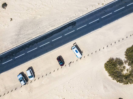 Aerial view of camping van on a street in Fuerteventura - SIPF02045