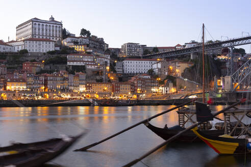 View from Gaia to Porto with Douro river in the evening, Portugal - FCF01779