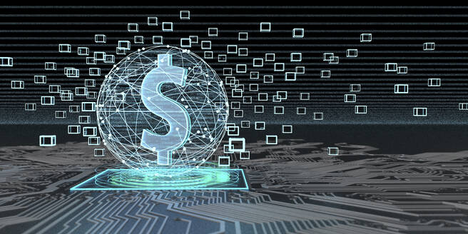 Dollar currency based on blockchain technology, 3D Illustration - ALF00761