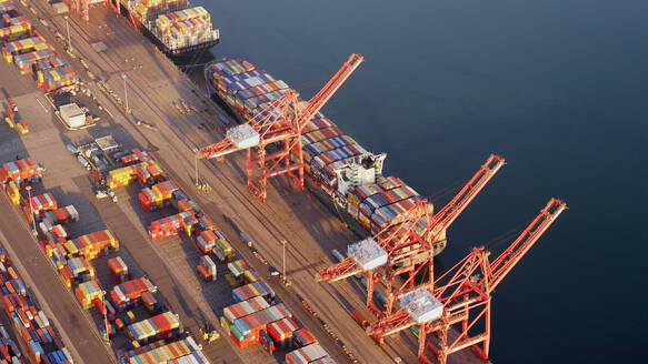 Aerial view of containers and cranes in industrial shipyard - BLEF12125