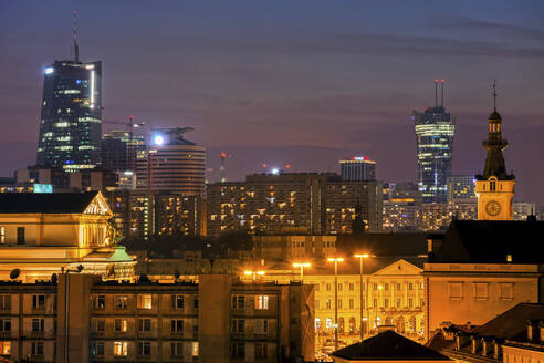Poland, Warsaw, capital city evening cityscape, downtown district - ABOF00429