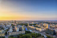 Aerial view of the city at sunset, Warsaw, Poland - ABOF00441