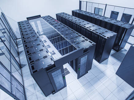 High angle view of technology in server room - BLEF12186