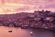 View over Porto and river Douro at dusk, Portugal - FCF01794