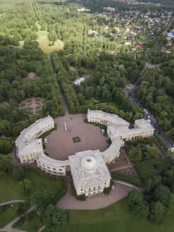 Aerial view of Pavlovsky Palace, Pavlovsky Park, Pavlovsk, St. Petersburg, Russia - KNT02968