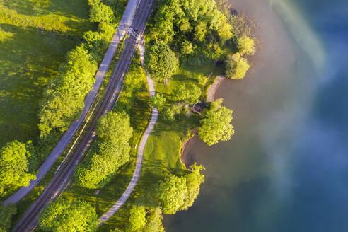 Aerial view of railroad tracks by Lake Schliersee, Bavaria, Germany - SIEF08829