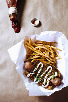 High angle view of chili dog with french fries - BLEF12494