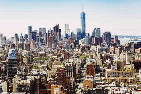 Aerial view of New York cityscape, New York, United States - BLEF12875