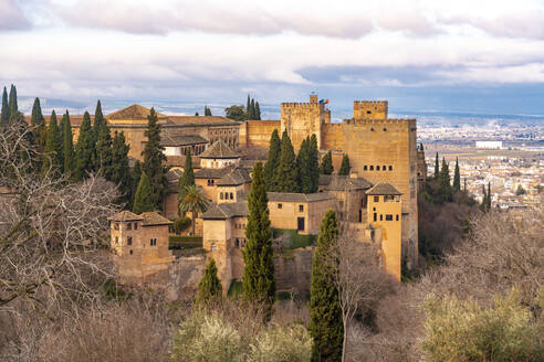 View of Alhambra palace complex from Generallife, Granada, Spain - TAMF01899