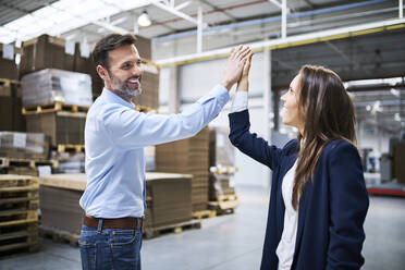 Businessman and businesswoman high fiving in a factory - BSZF01257