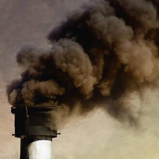 Close up of smoke billowing from smoke stack - BLEF13091