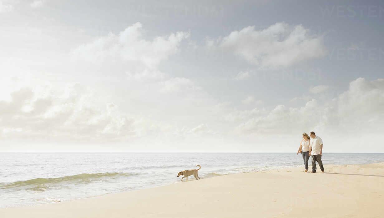 Caucasian couple walking dog on beach - BLEF13161 - Chris Clor/Westend61