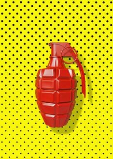 Close up of red grenade on polka dot background - BLEF13182