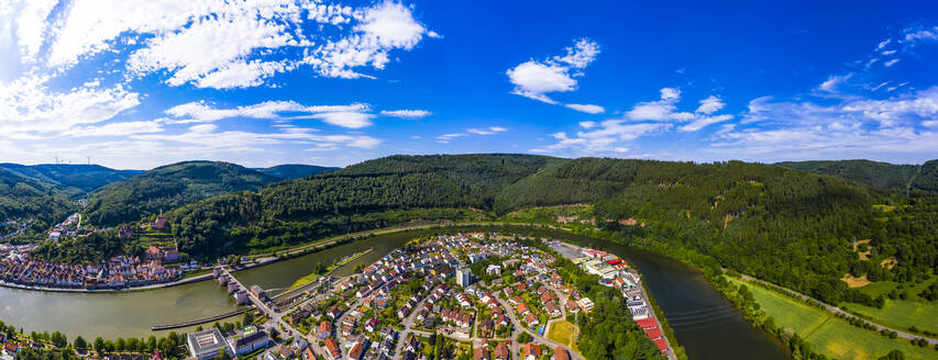 Aerial view of town against blue sky, Hesse, Germany - AMF07234