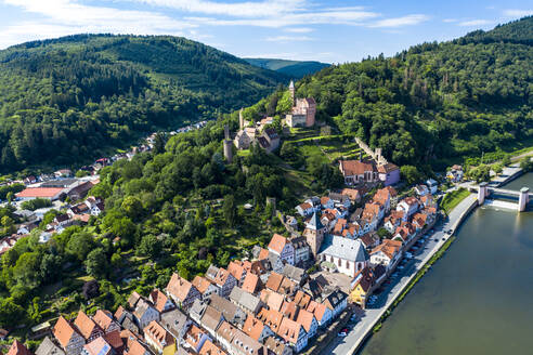 Aerial view of Zwingenberg Castle on mountain in town, Hesse, Germany - AMF07237