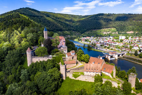 Aerial view of Zwingenberg Castle on mountain by Neckar River, Hesse, Germany - AMF07240
