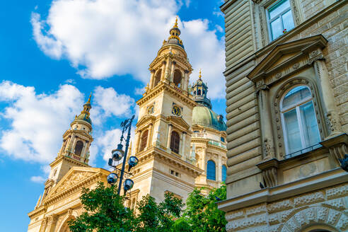 Low angle view of St. Stephen's Basilica against sky at Budapest, Hungary - SPCF00439