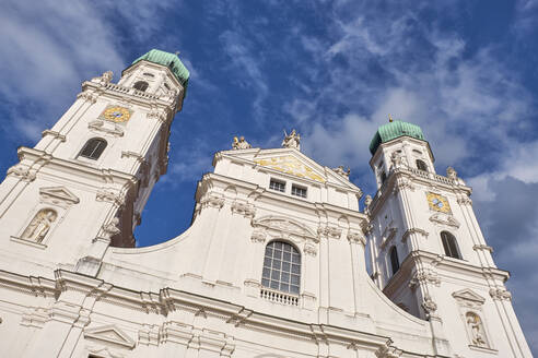 Low angle view of St. Stephan's Cathedral against blue sky in old town, Bavaria, Germany - ELF02053