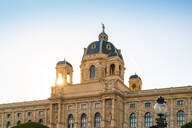 Low angle view of Kunsthistorisches Museum in Vienna against clear sky - TAMF02047
