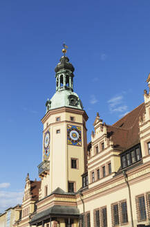 Low angle view of Town Hall Tower against blue sky in Leipzig, Saxony, Germany - GWF06197