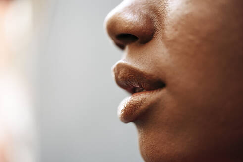 Nose, lips and cheek of young woman, close-up - JSMF01196