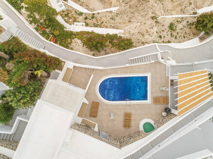 Aerial view of pool in residence on Santorini island, Mesaria Greece - AAEF00133