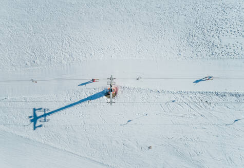 Aerial view of people on ski lift at Mount Erymanthos in Greece - AAEF00586