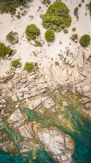 Aerial view of the rocky coast in Sardinia, Italy - AAEF00757