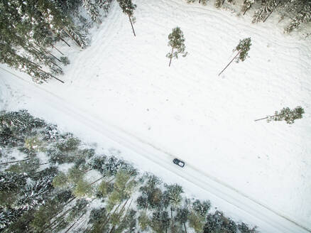 Aerial view of a car on a snowy road in forest in Estonia - AAEF00964
