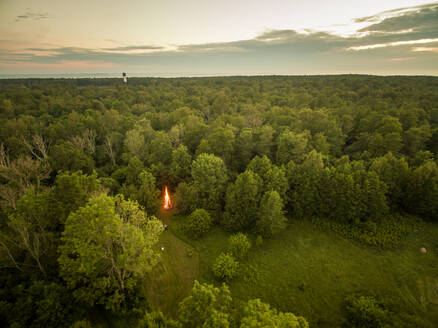 Aerial view of a campfire in the forest in Estonia - AAEF00976