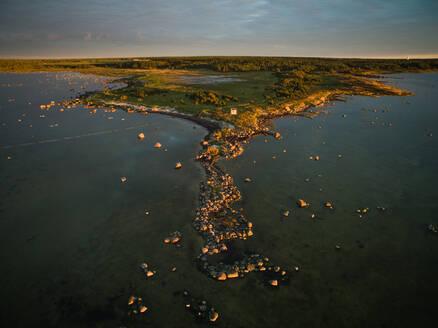 Aerial view of the edge of island Vormsi at sunset in Estonia - AAEF01012