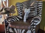 Remains of wildebeest cranium on zebra armchair. Mpumalanga, South Africa - VEG00443