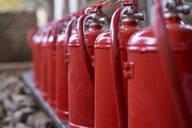 Close-up of fire extinguishers, Mpumalanga, South Africa - VEGF00446