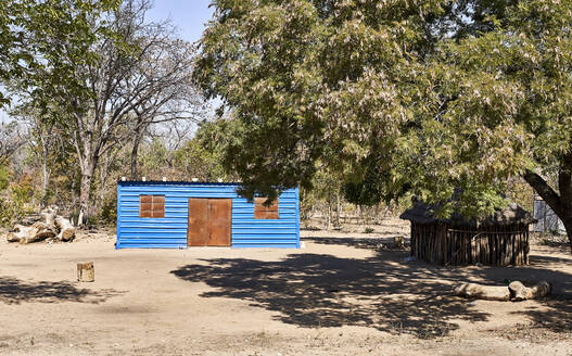 Blue house in small village at Caprivi Strip, Namibia - VEGF00479