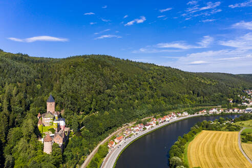 Aerial view of Zwingenberg Castle on mountain by Neckar River, Hesse, Germany - AMF07248