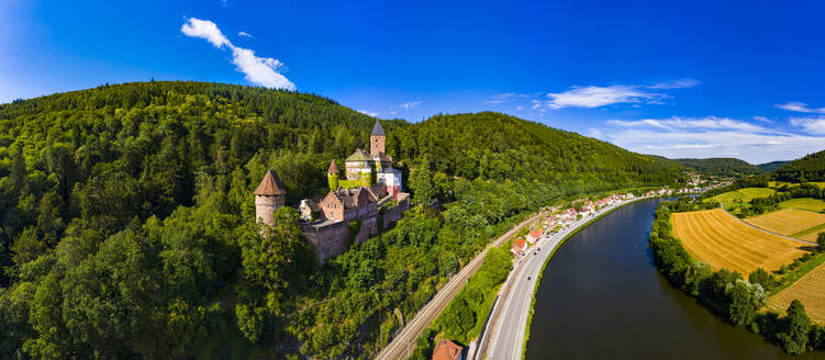 Aerial view of Zwingenberg Castle on mountain by Neckar River, Hesse, Germany - AMF07251