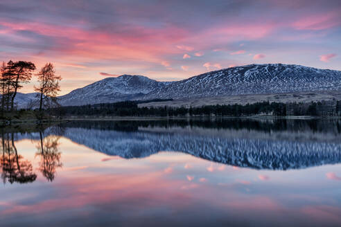 Winter sunset over The Black Mount and Loch Tulla, Argyll and Bute, Scotland, United Kingdom, Europe - RHPLF00127
