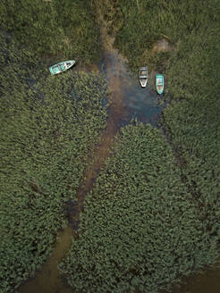 Aerial view of boats moored on Lake Ladoga in Shlisselburg, Russia - KNTF02993