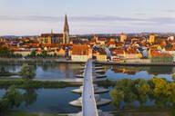 Aerial view of Stone Bridge over Danube River in Regensburg, Bavaria, Germany - SIEF08851