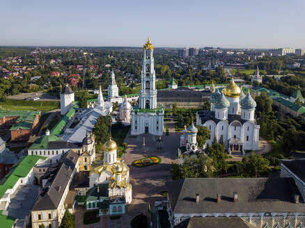 Trinity Lavra Of St. Sergius against clear sky in Sergiev Posad, Moscow, Russia - KNTF03009