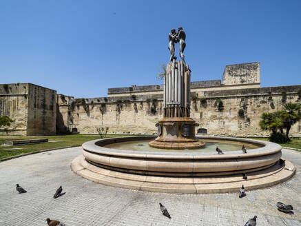 Fontana dell Armonia against clear blue sky during sunny day, Lecce, Italy - AM07255