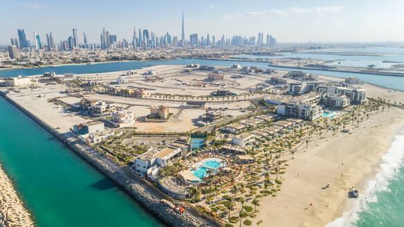 Aerial view of Pearl Jumeirah island in Dubai, U.A.E. - AAEF01074