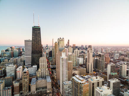 Aerial view of business building cityscape, Chicago, USA - AAEF01284